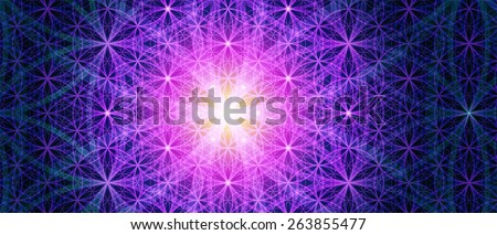 Symbols of sacred geometry, depict fundamental aspects of space and time. Background Flower of life symbol variations. - stock vector