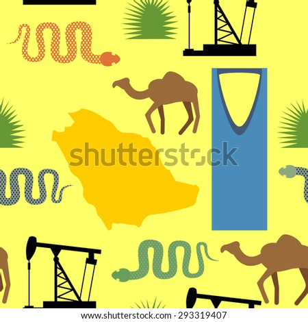 Symbols of Saudi Arabia seamless pattern. Desert and oil pumps, snakes, camels, and cacti. Kingdom tower of Riyadh city. Map Saudi Arabia. Vector background - stock vector