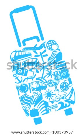 Symbols of tourism - stock vector