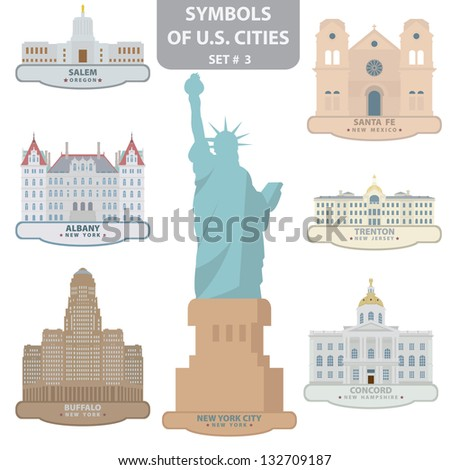 Symbols of US cities. Set 3. Vector for you design - stock vector