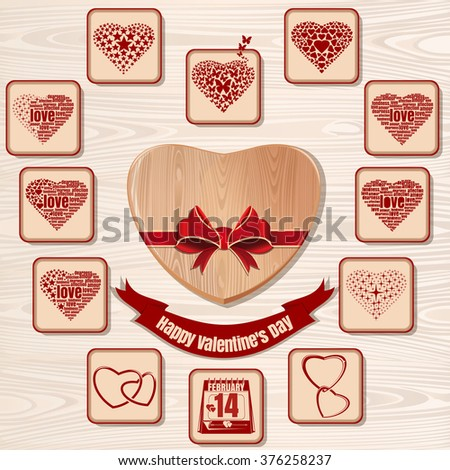 Symbols of Valentine's Day. Vector icons collection for Valentines Day on a wooden background. Set of hearts for Valentine's Day. - stock vector