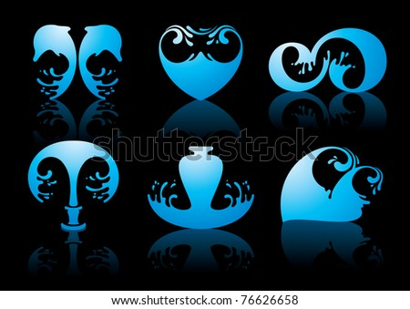 Symbols of water reflection on black background - stock vector