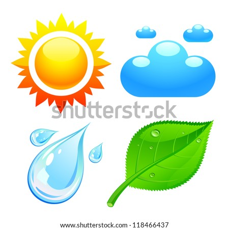 Symbols which represent four elements weather, fire, air and earth - stock vector