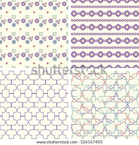 Symmetrical geometric shapes triangle squares. Fabric pattern - stock vector