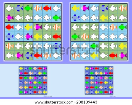 Symmetrical mini-sudoku vector set. Very easy and easy. - stock vector