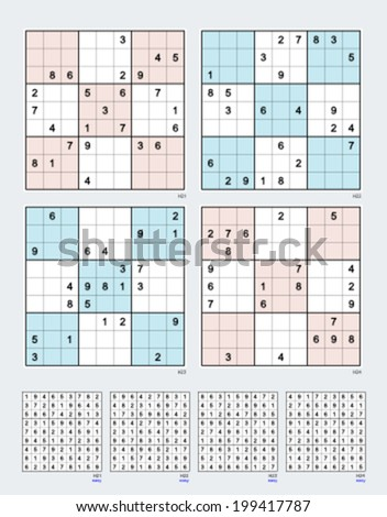 Symmetrical Sudoku. Vector set n.60. Easy. 25, 24, 23, 22 clues.  - stock vector