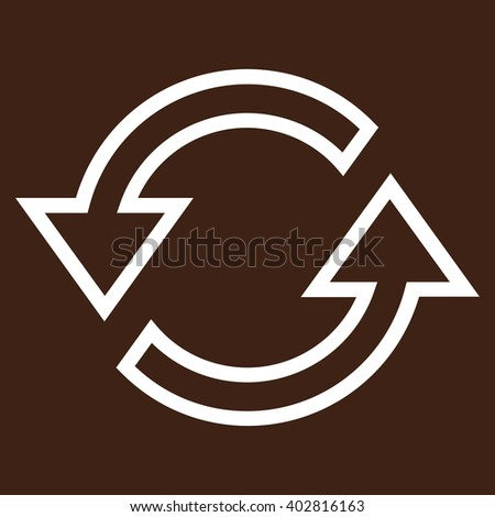 Sync Arrows vector icon. Style is outline icon symbol, white color, brown background. - stock vector