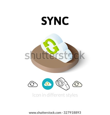 Sync icon, vector symbol in flat, outline and isometric style - stock vector