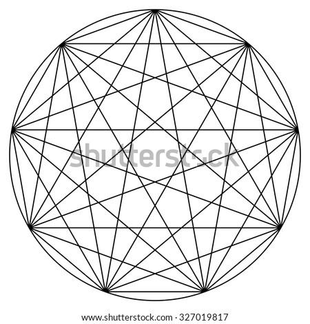 Synchronicity mandala vector illustration, 9 points, line drawing - stock vector