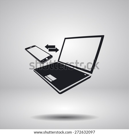 Synchronization vector icon. Notebook with phone sync symbol.ico - stock vector