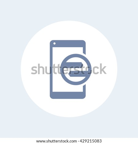 synchronization with smartphone icon, data transfer linear pictogram isolated on white, vector illustration - stock vector