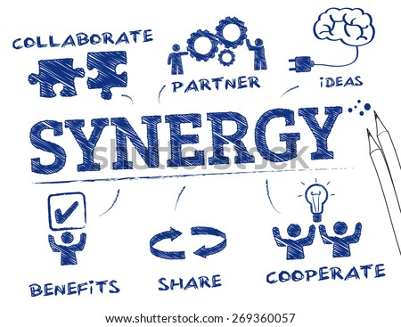 Synergy. Chart with keywords and icons - stock vector