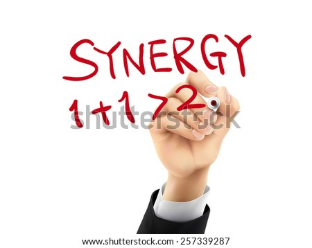 synergy word written by hand on a transparent board - stock vector