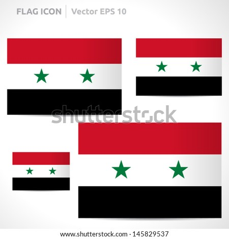 Syria flag template | vector symbol design | color red, black, white and green | icon set - stock vector