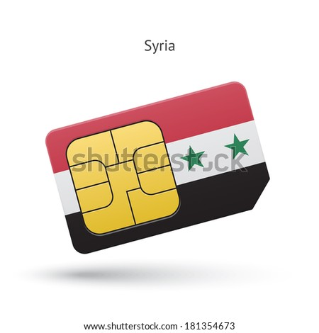 Syria mobile phone sim card with flag. Vector illustration. - stock vector