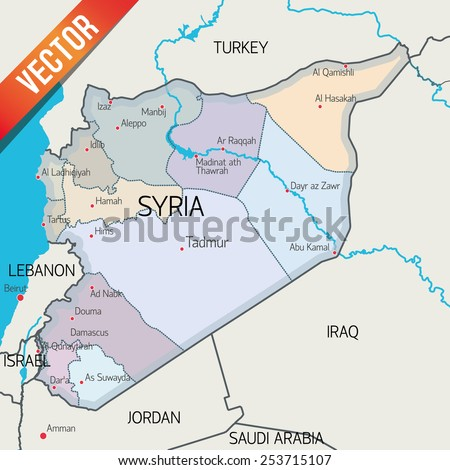 Syria vector map  - stock vector