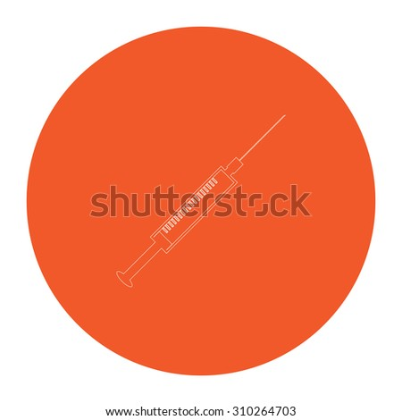 Syringe. Flat outline white pictogram in the orange circle. Vector illustration icon - stock vector