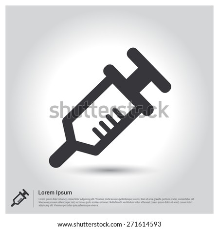 syringe icon, pictogram icon on gray background. Vector illustration for web site, mobile application. Simple flat metro design style. Outline Icon. Flat design style - stock vector