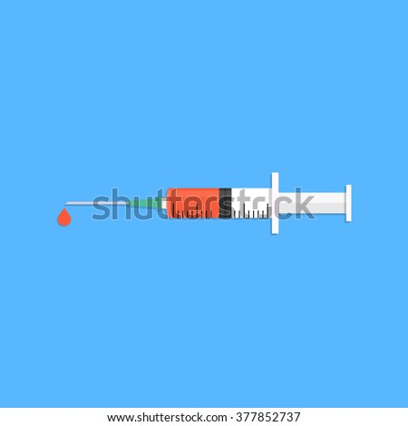 Syringe in flat style. Syringe on a blue background with a drop. Syringe icon. Flat design. Vector. Flu vaccine. Vaccine. Syringe with vaccine - stock vector