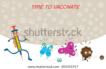 Syringe Run to Vaccinate Germ Characters, Bacteria, Virus, Microbe, Pathogen - stock vector