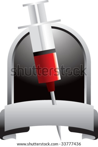 syringe with blood on crest shaped display - stock vector