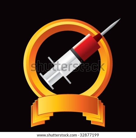 syringe with blood on gold display - stock vector