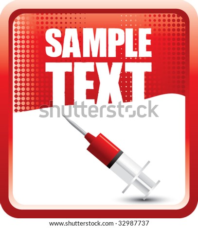 syringe with blood on red halftone banner - stock vector