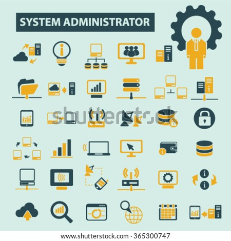 system administrator, computer network, connection, database, technology icons, signs vector concept set for infographics, mobile, website, application  - stock vector