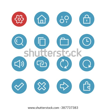 System vector icon set - different symbols on a round blue background. - stock vector