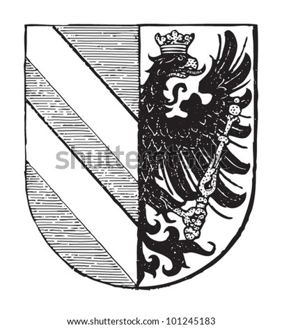 Szeged coat of arms (city in Hungary) / vintage illustration from Meyers Konversations-Lexikon 1897 - stock vector