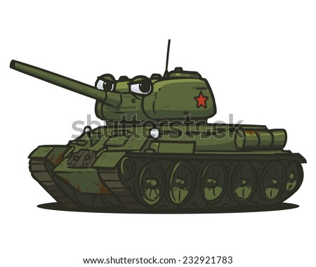 t-34 character Soviet Union wwII tank - stock vector