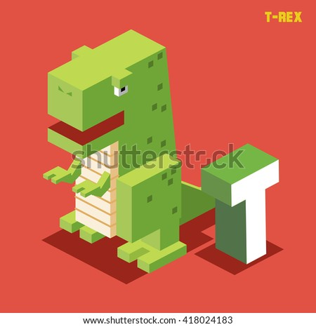 T for t-rex. Animal Alphabet collection. vector illustration - stock vector