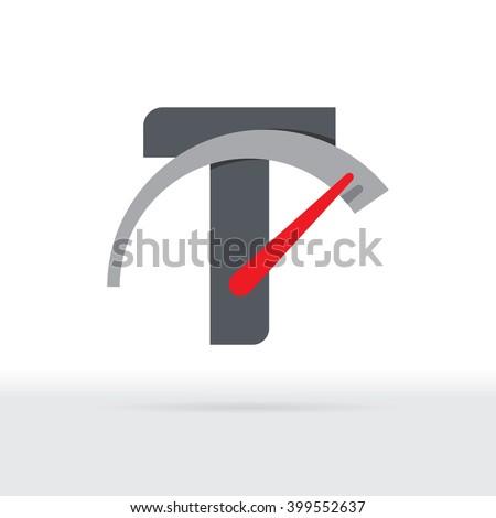 T Letter Car Speedometer, B Letter Meter Logo - stock vector