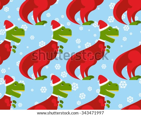 T-Rex Santa Claus seamless pattern. Christmas dinosaur backdrop. Ancient Creeper dressed  Santa Claus. New Year festive texture.