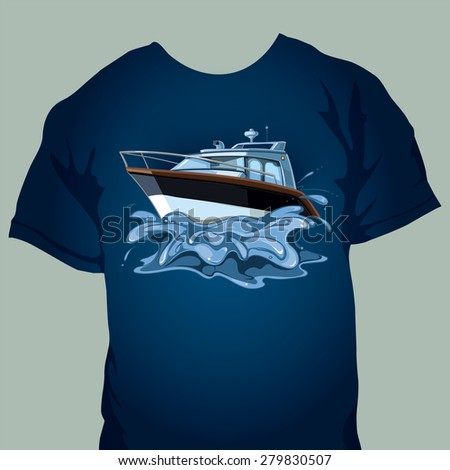 t-shirt design with motor boat in the sea. Splashes from the movement of the yacht on waves - stock vector