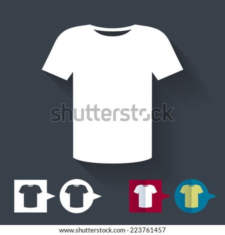 T-shirt flat icon with color variations. - stock vector