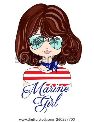 T-shirt Graphics/cute girl illustration/Fashion girl/cute girl illustration/pretty girl/illustration beautiful girl/beach girl/character design/sea-themed illustrations/cartoon girl/Girl vector - stock vector