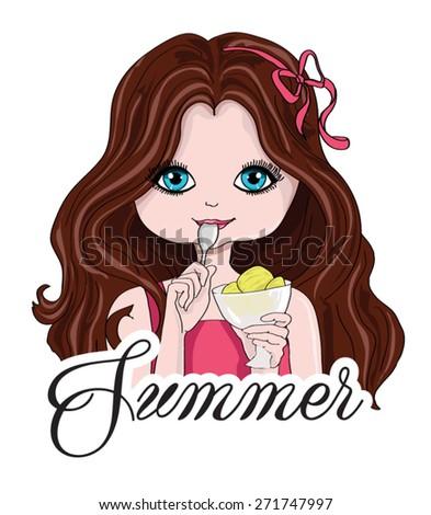 T-shirt Graphics/cute girl illustration/Fashion girl/cute girl illustration/pretty girl/character design/Girl vector/design for children's books/canvas print/tattoo design/girl pattern/ice cream girl - stock vector