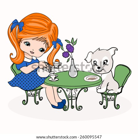 T-shirt Graphics/fairy tale illustrations for children/beautiful girl drinking tea and rabbits table/Beautiful romantic girl/cute girl/Vector Cute beautiful fashion girl/design for children's books - stock vector