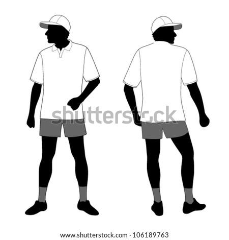 T-shirt. Men's polo shirt template with men body silhouette and baseball cap - stock vector