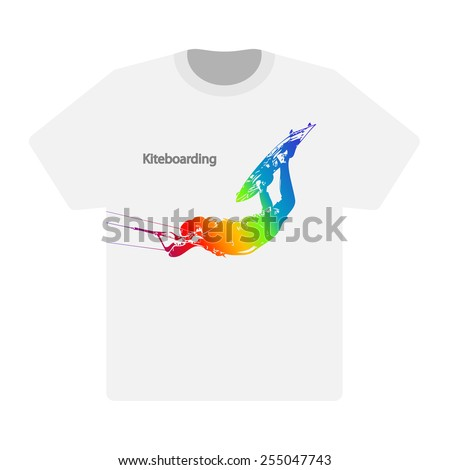 T-shirt with the image of the Rider. Kiteboarding on White background. Vector. Illustration. - stock vector