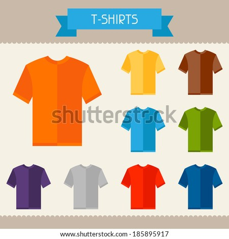 T-shirts colored templates for your design in flat style. - stock vector