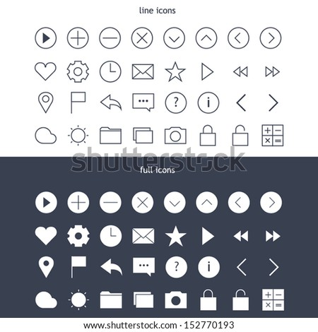 Tab bar line & full icons for mobile devices - stock vector