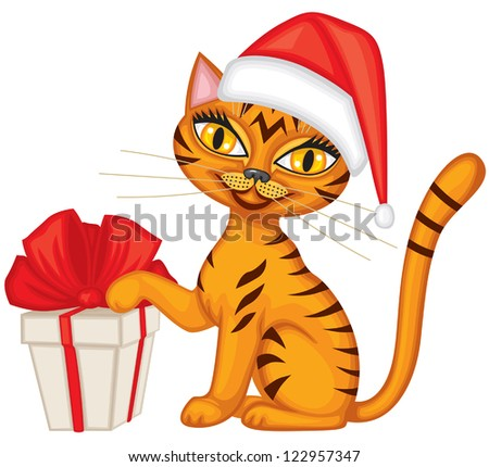 Tabby red cat in cap Santa gives a gift tied with red ribbon - stock vector