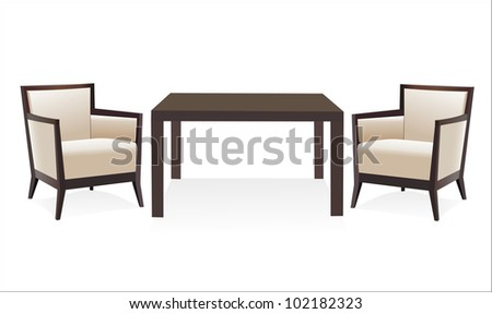 Table and chairs - stock vector