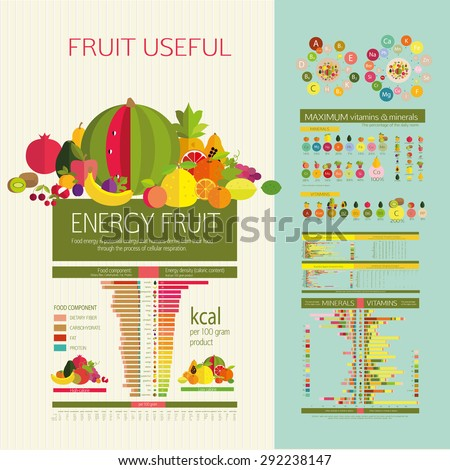 Table energy density (calorie) fruits and food component: dietary fiber, proteins, fats and carbohydrates. The content of vitamins and microelements. Illustrative diagram and table of values. - stock vector