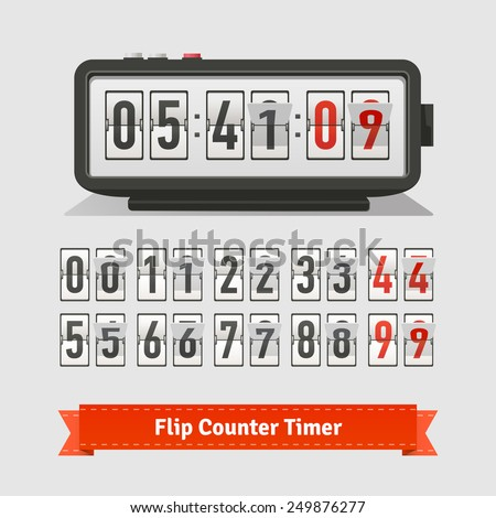 Table flipping timer clock and number counter template plus all numbers with flips. Flat style illustration or icon. EPS 10 vector. - stock vector