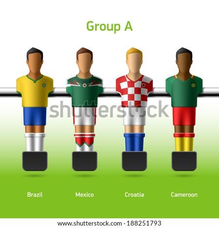 Table football / foosball players. World soccer championship. Group A - Brazil, Mexico, Croatia, Cameroon. Vector. - stock vector