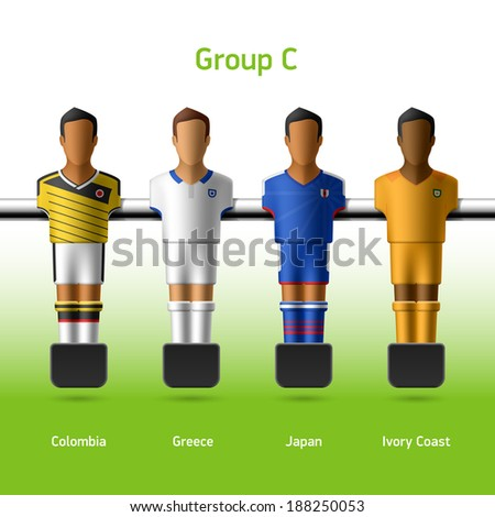 Table football / foosball players. World soccer championship. Group C - Colombia, Greece, Japan, Ivory Coast. Vector. - stock vector