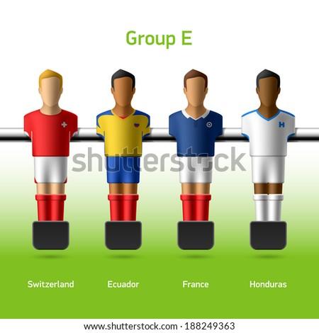 Table football / foosball players. World soccer championship. Group E - Switzerland, Ecuador, France, Honduras. Vector.  - stock vector